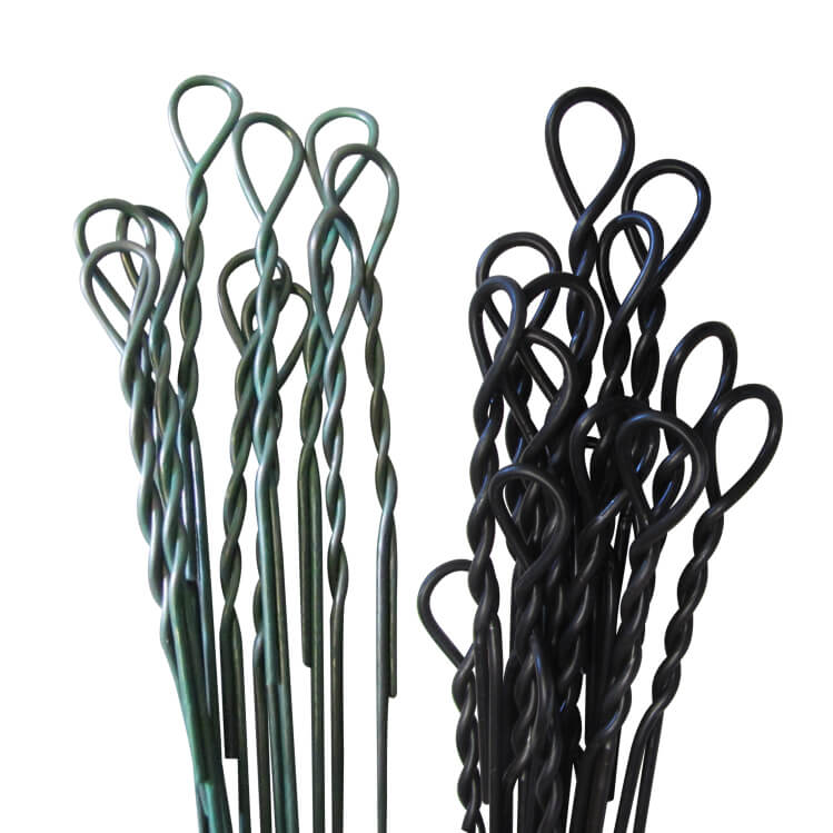 a bundle of black annealed bale ties and galvanized single looped bale ties